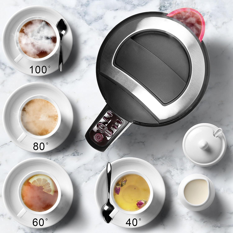 chocolat chaud Chauffe rapidement 1,5 L Duronic EK30 WE Bouilloire /électrique de 3000W caf/é soluble Maintien au chaud Th/é Ecoresponsable Choix de la temp/érature 40/° // 60/° // 80/° // 100/°