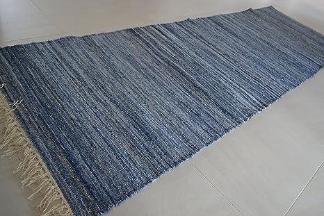 Tappeti In Tessuto Riciclato : Enorme lungo denim cotone tappeto cm cm blu tessuto