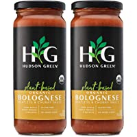 Plant-Based Bolognese Pasta Sauce by Hudson Green | Meatless & Chunky! 100% USDA Organic, No Sugar Added, Gluten Free, Non-GMO | 2-Pack 16 oz. jars