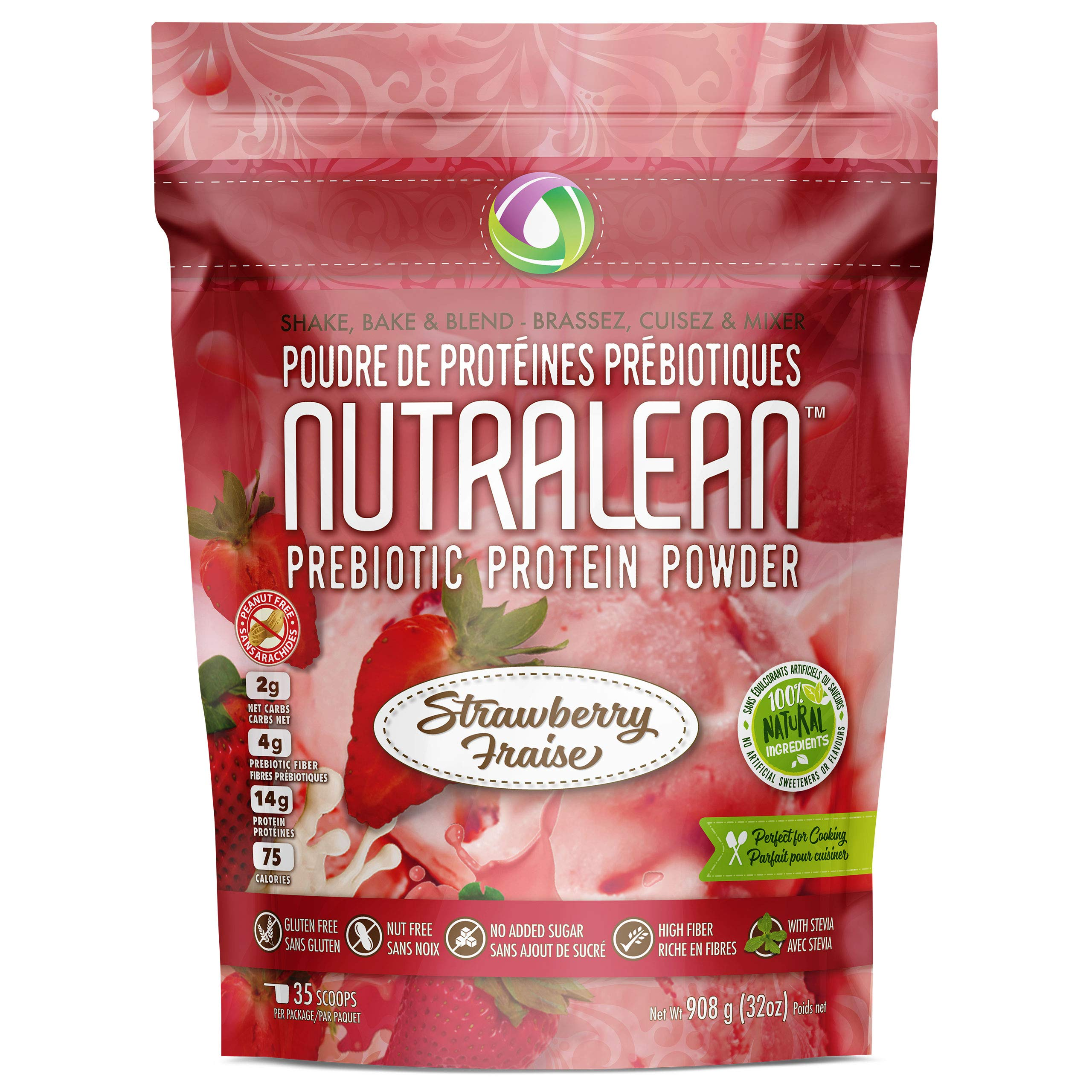 NUTRALEAN - Strawberry Prebiotic Protein Powder - 100% All Natural | Peanut-Free | Nut-Free | Gluten-Free | Soy-Free | NO Artificial Sweeteners | Grass Fed Whey | Ideal Keto Shakes & Fiber Supplement by Nutracelle