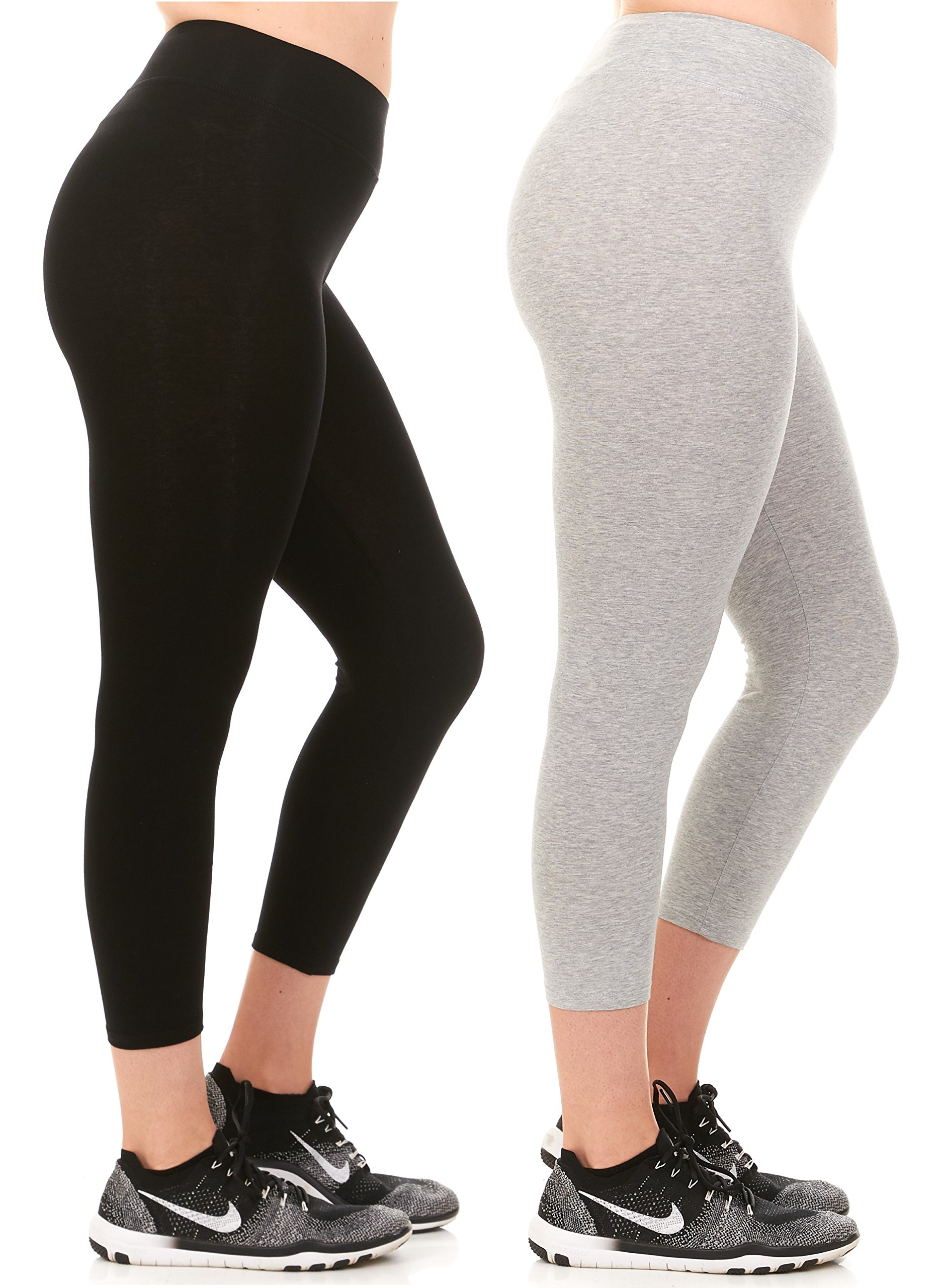 Unique Styles Womens Cotton Capri Yoga Pants Leggings in Regular and Plus Sizes