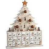 WeRChristmas–Decorazione natalizia in legno calendario dell' Avvento a forma di albero di Natale, naturale, Beige, 40cm