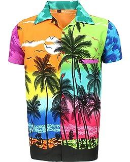 3e1198f88 SAITARK Mens Hawaiian Shirt STAG Beach Hawaii Aloha Party Summer Holiday  Fancy Mix Palm