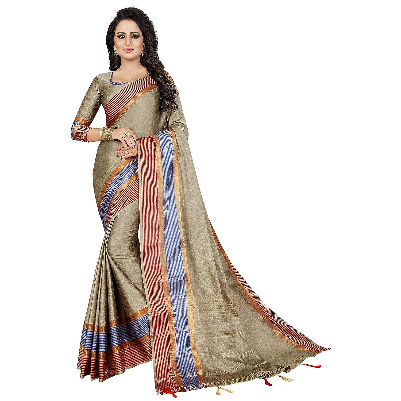 Paridhan Creation Womens Cotton Silk Saree with Blouse Piece