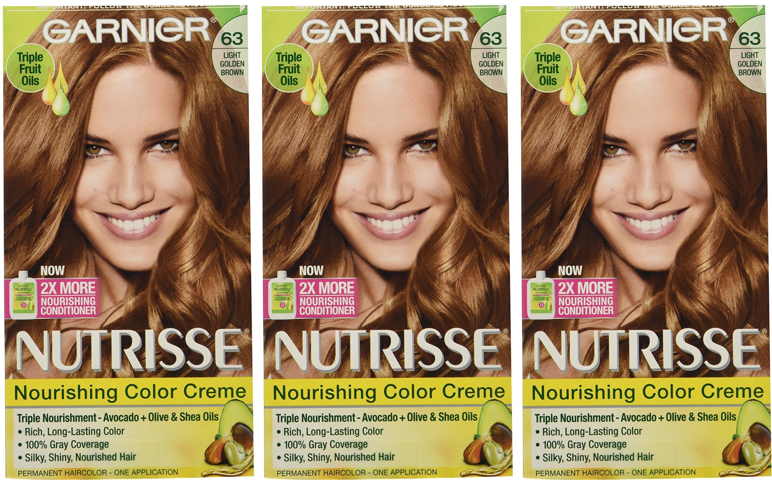 Garnier Nutrisse Nourishing Hair Color Creme, 63 Light Golden Brown (Brown Sugar), 3 Count  (Packaging May Vary)