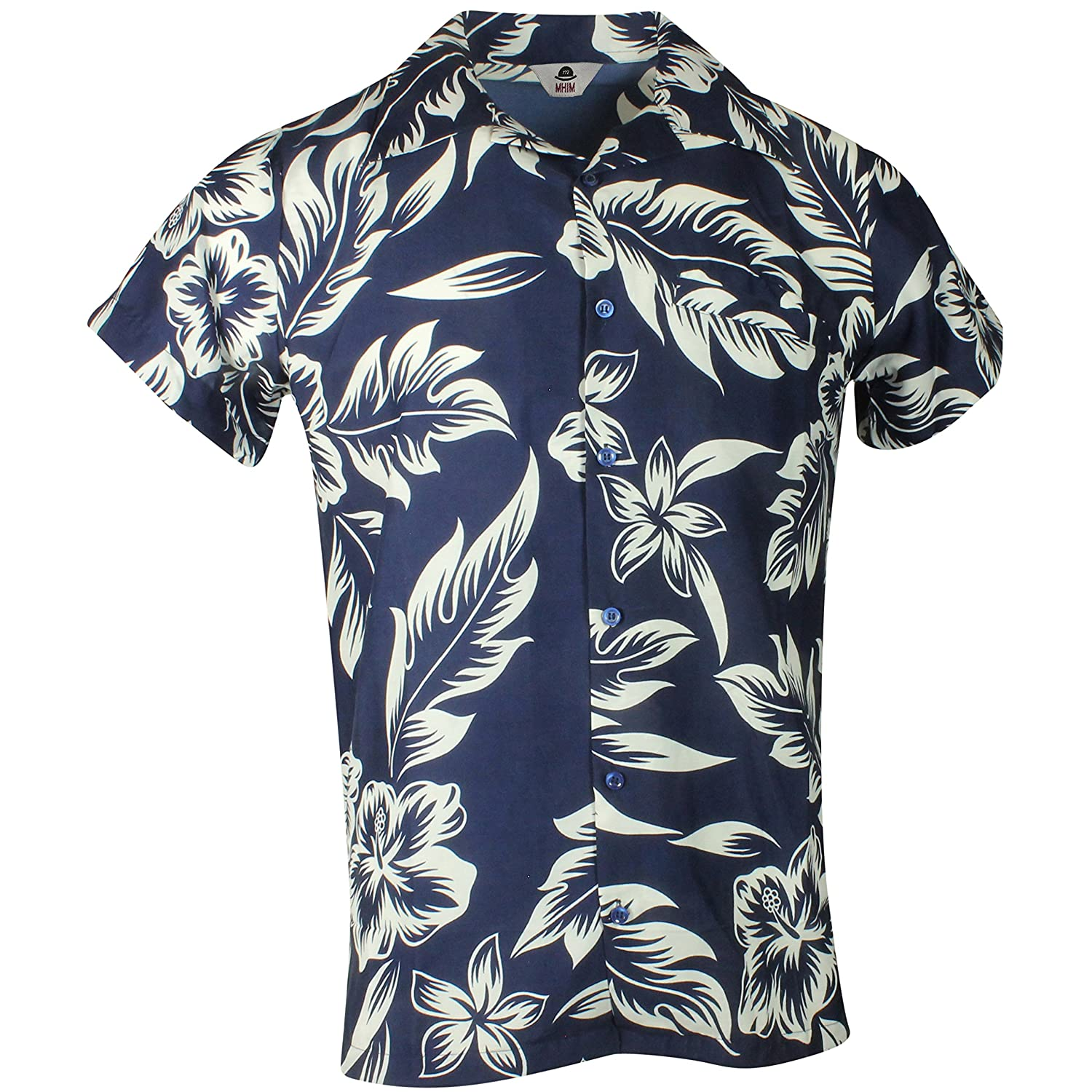 79b3c9724ce Floral Hawaiian Shirt Flower and Leaf Navy: Amazon.co.uk: Clothing