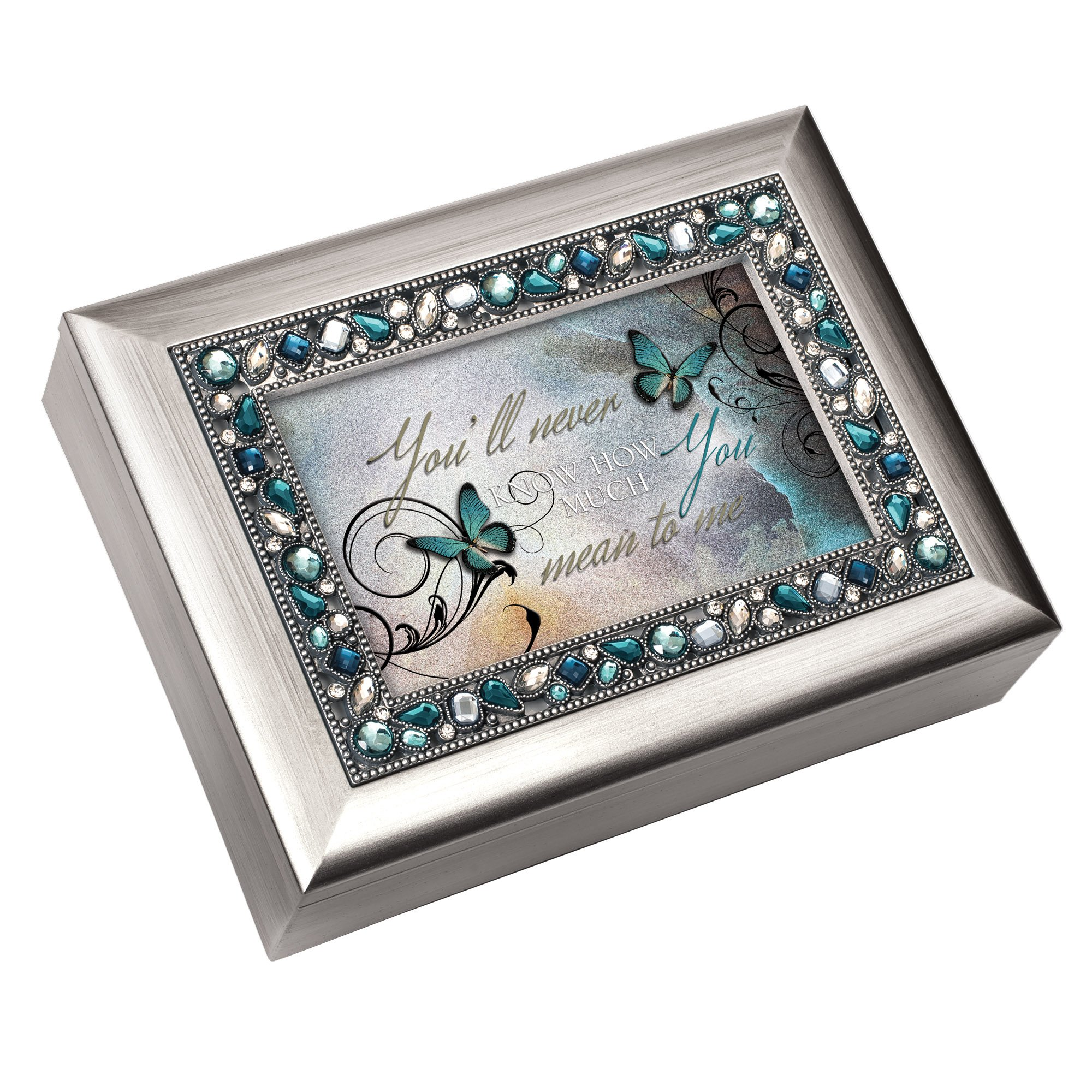 Cottage Garden Never Know How Much You Mean to Me Brushed Silvertone Jewelry Music Box Plays Wonderful World