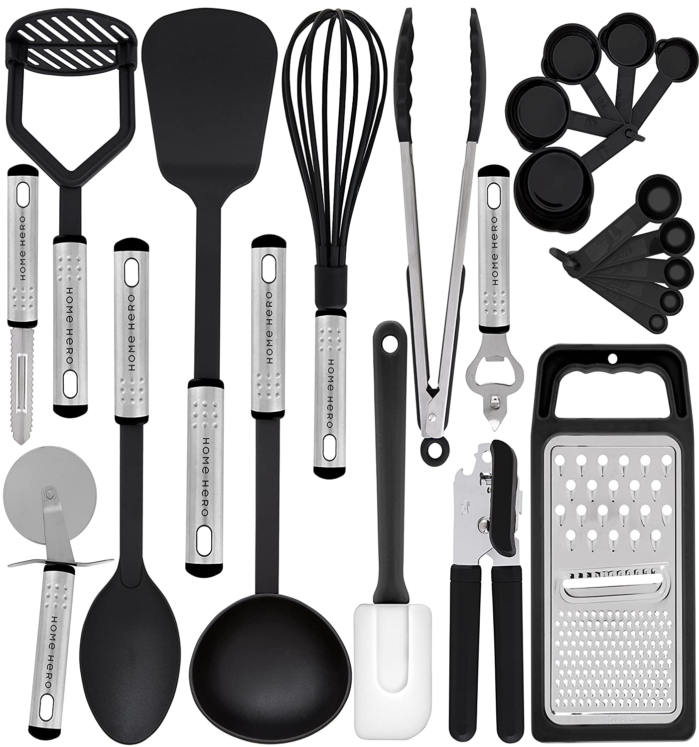 HomeHero Kitchen Utensil Set - 23 Nylon Cooking Utensils - Kitchen Utensils with Spatula - Kitchen Gadgets Cookware Set - Best Kitchen Tool Set Gift