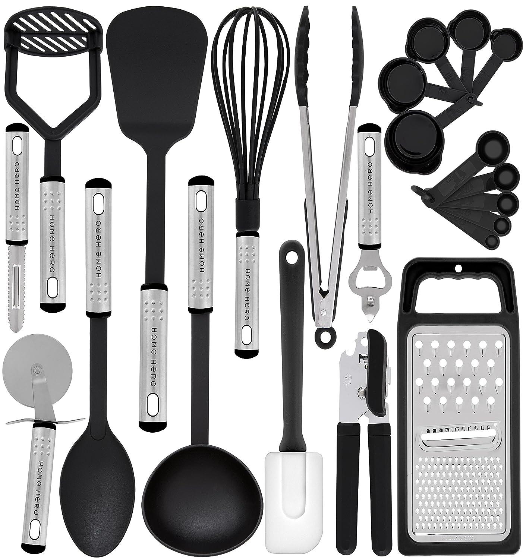 HomeHero Kitchen Utensil Set - 23 Nylon Cooking Utensils - Kitchen Utensils with Spatula - Kitchen Gadgets Cookware Set - Best Kitchen Tool Set Gift