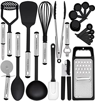 kitchen utensils. Kitchen Utensil Set - 23 Nylon Cooking Utensils With Spatula Gadgets E