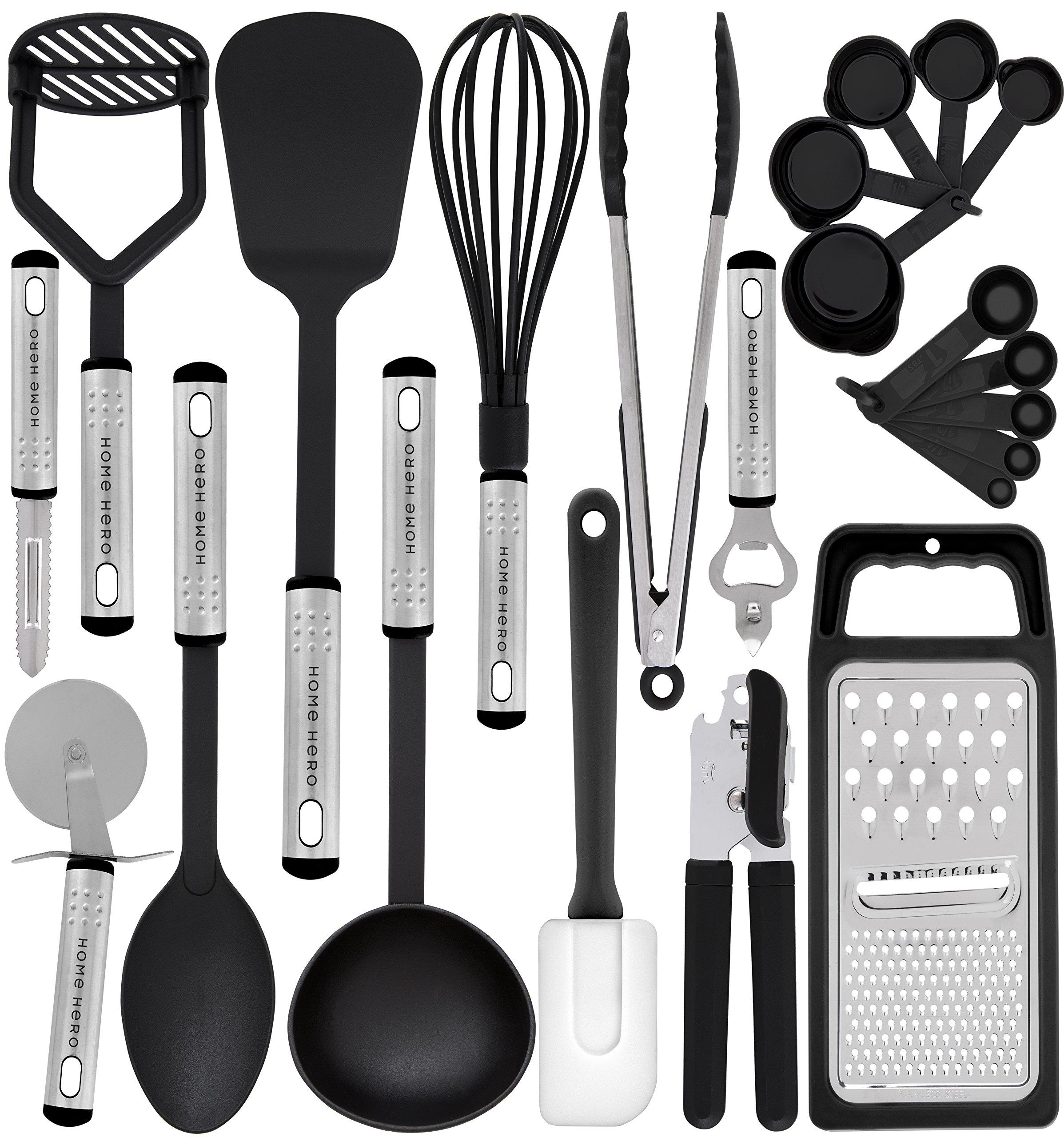 Kitchen Utensil Set - 23 Nylon Cooking Utensils - Kitchen Utensils with Spatula - Kitchen Gadgets Cookware Set - Best Kitchen Tool Set Gift by HomeHero by HomeHero (Image #1)
