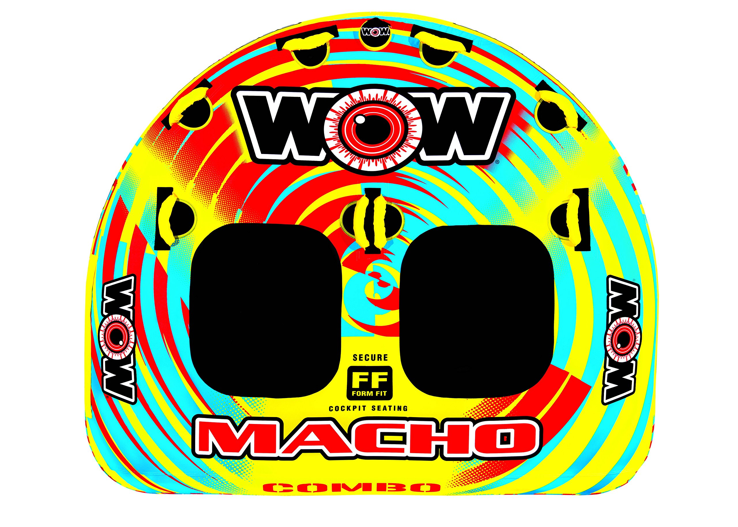 WOW World of Watersports, Macho Towable Tube, Boat Tube, Multiple Riding Positions - Macho Combo 1-2 Person Deck Tube by WOW Sports