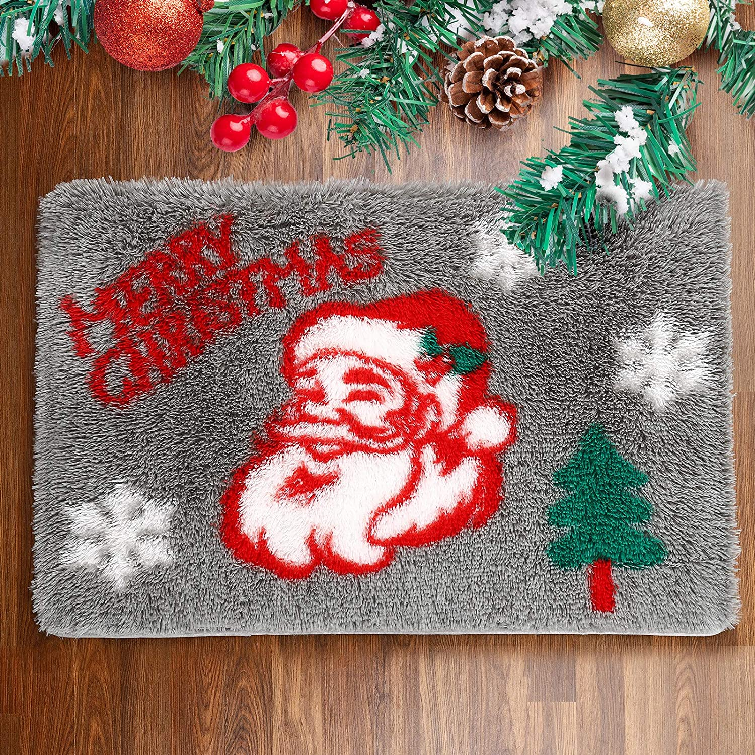 Rostyle Fluffy Christmas Rugs Santa Claus Christmas Bedroom Rug Plush Shaggy Runner Rug with Non Slip Backing, Shag Christmas Doormat Xmas Holiday Decor Carpets for Bedside, 2 ft x 3 ft