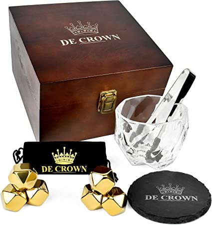 Whiskey Stones and Glass Gift Set for Men – Fancy Drinking Cup, Gold Stainless Steel Chilling Rocks, Slate Coaster – Cool Reusable Ice Cubes for Scotch Bourbon – Great for Husband Birthday Retirement