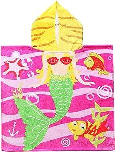 """Exclusivo Mezcla 100% Cotton Mermaid Kids Hooded Poncho Bath/Beach/Pool Towel, 24"""" x 47"""""""