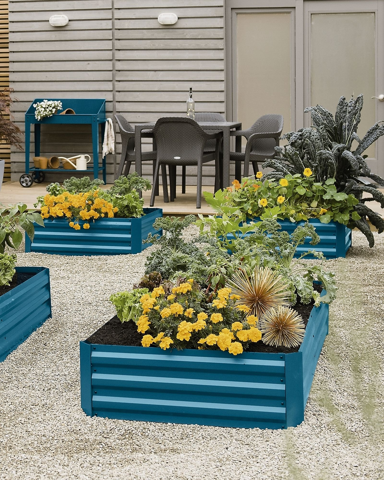 "Gardener's Supply Company Corrugated Metal Powder-coated steel Raised Bed, 34"" x 68"" Blue by Gardener's Supply Company"