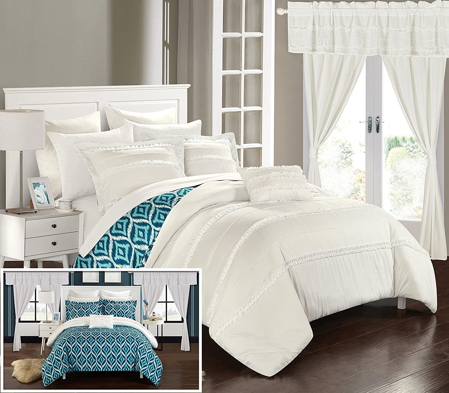 Chic Home Adina 20 Piece Reversible Comforter Complete Bed in a Bag, Queen, White