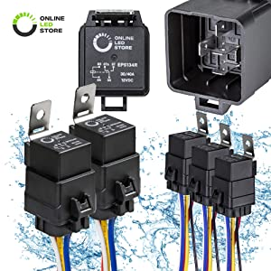 ONLINE LED STORE 5 Pack 40/30 Amp Waterproof Relay Switch Harness Set - 12V DC 5-Pin SPDT Automotive Relays 12 AWG Hot Wires
