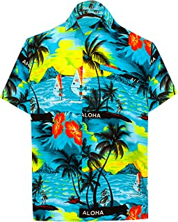6e26f628b LA LEELA Shirt Casual Button Down Short Sleeve Beach Shirt Men Aloha Pocket  213