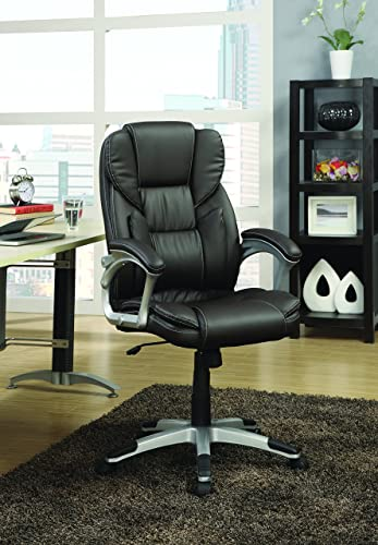 Coaster Home Furnishings Adjustable Height Office Chair Dark Brown and Silver