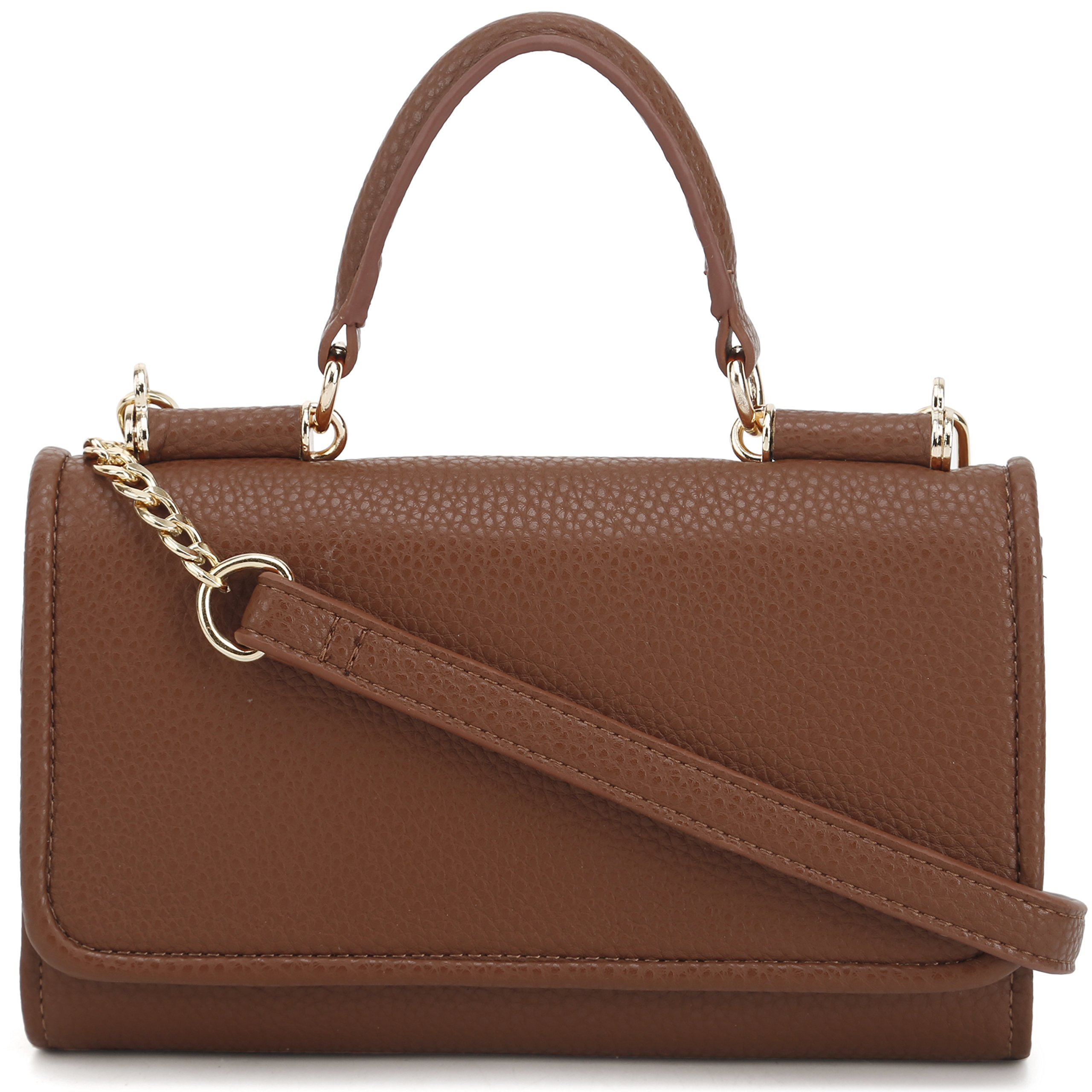 DELUXITY Top Handle Clutch Crossbody Purse with Removable Chain Strap (Brown)