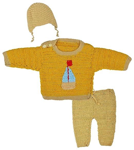 7df4010fe Kuchipoo Hand Knitted Unisex Babies Woollen Clothing Set (Gold