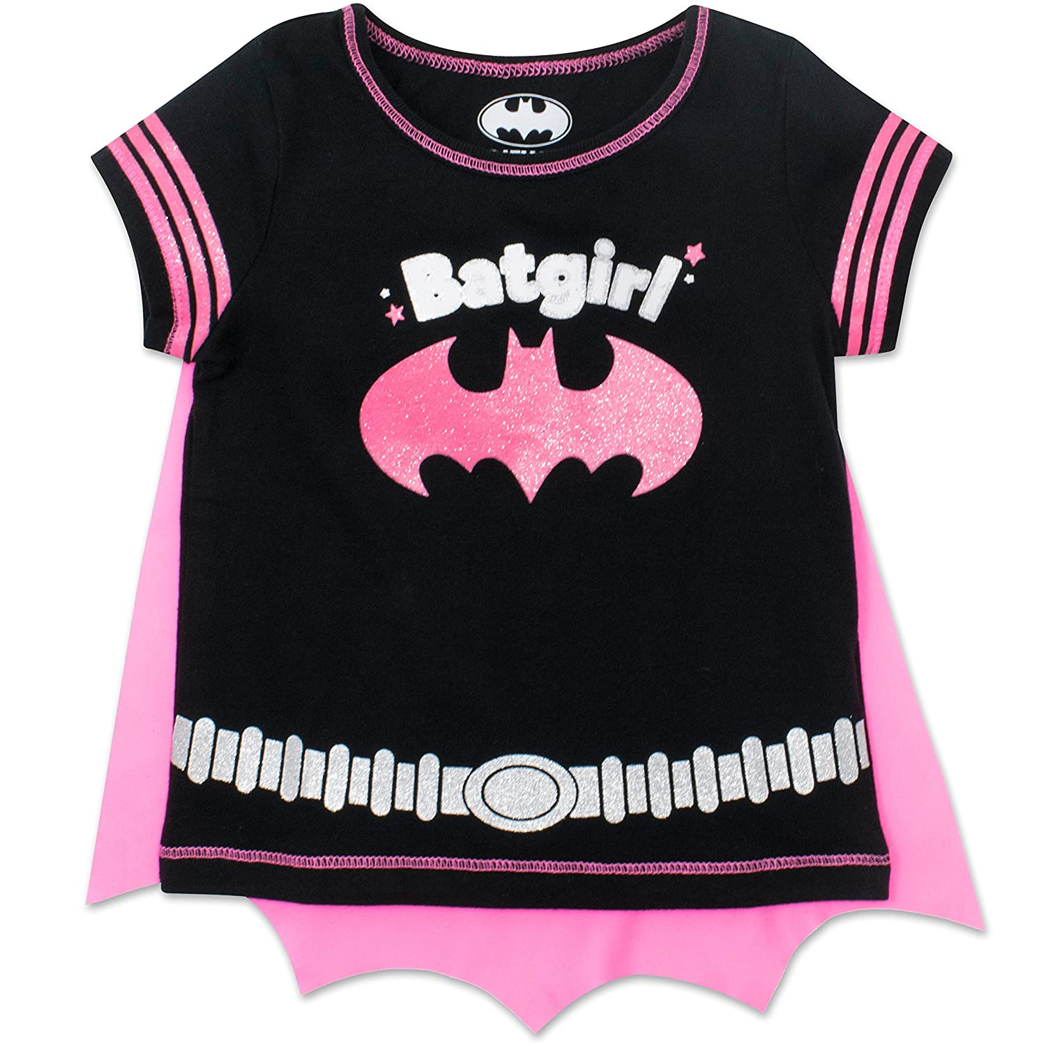 Warner Bros. Batgirl Toddler Girls' T-Shirt with Cape, Black Black (4T)