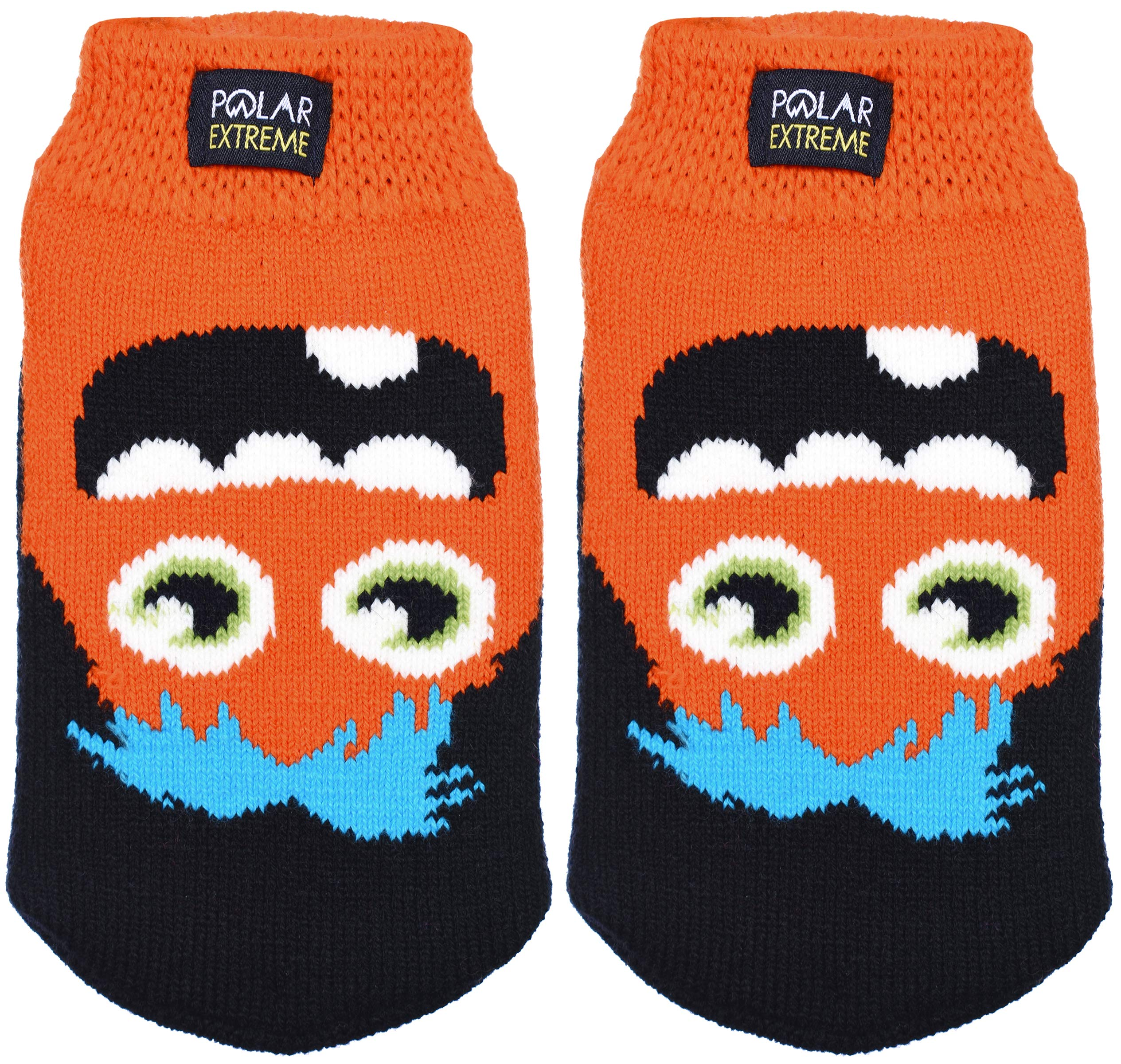 Boy's Insulated Thermal Knit Monster Socks with Gripper Dots in 4 Fun Styles (Chuck - Orange Black)