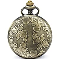 Bronze Flowers Vintage Quartz Pocket Watch Shell Dial with Two Type Chain(Leather+Metal)