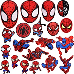 20 Pieces Superhero Spiderman Patch for Clothes,Assorted Styles Super Hero Spider-Man Embroidered Iron on Patches DIY Sew Applique Repair Patch to All Fabric (20 PCS, Spiderman Series)