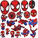 20 Pieces Superhero Spiderman Patch for Clothes,Assorted Styles Super Hero Spider-Man Embroidered Iron on Patches DIY Sew App