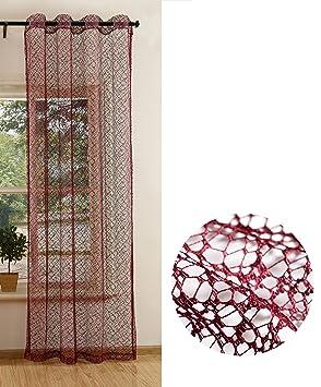 ffa0aa475db6ba Gardine Netzvorhang mit Ösen einfarbig transparent Deko Vorhang Netz  Struktur 245x140 Bordeaux, 20352