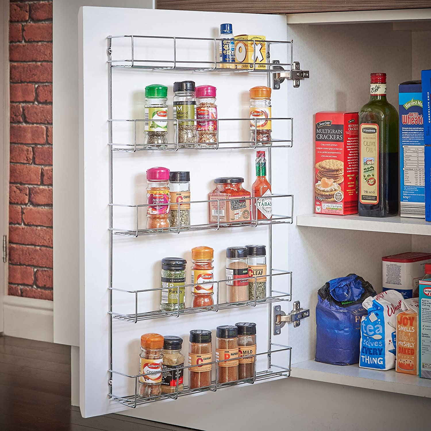 Amazon.com: VonShef 5 Tier Spice Rack Organizer Chrome Plated (Easy Fix)  For Herbs And Spices | Suitable For Wall Mount Or Inside Cupboard: Kitchen  U0026 Dining