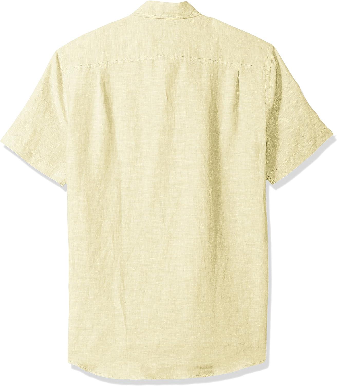 Camicia in lino a maniche corte Slim Fit da uomo Essentials