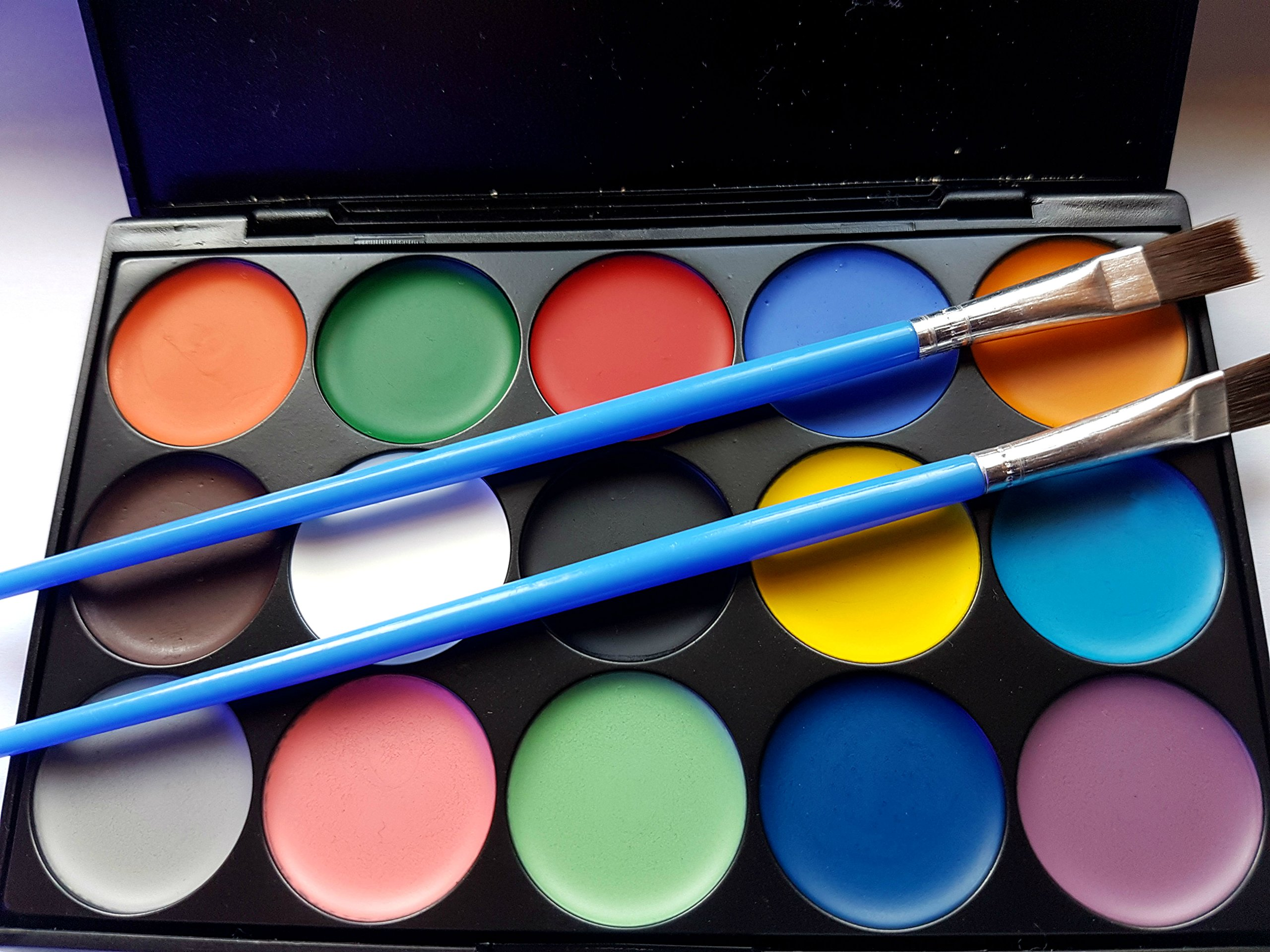 Face Paint | Face Paint Set 15 Color Palette | Professional Face Painting Palette with Premium Hard Carry Case | Paint Set Includes 2 Brushes & 24 Stencils | Water Activated Non Toxic & FDA Approved