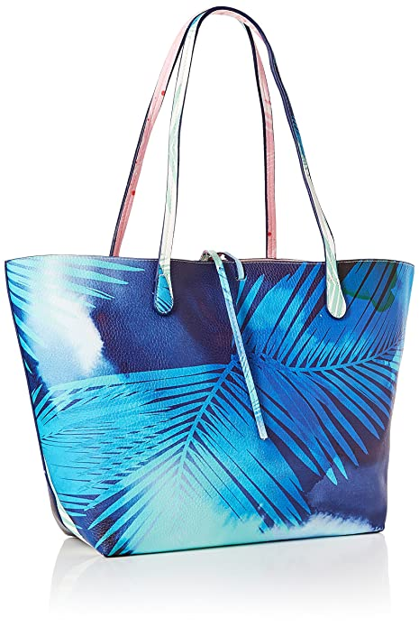 Desigual Bols_blue Palms Capri femme Sacs portés épaule Turquoise (Turquesa) 28x13x30 cm (B x H x T) 596maqQo