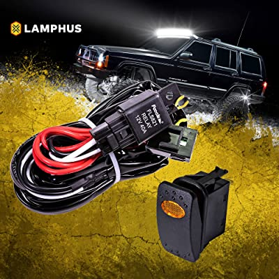 LAMPHUS 12V 40A Off Road LED Light Bar Relay Wiring Harness Kit for ATV/Jeep - AMBER ON/OFF Switch: Automotive
