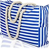 Beach Bag XXL (Huge). 100% Waterproof. L22 xH15 xW6 (56x38x15cm). Rope Handles, Top Zipper, Outside Pockets. Shoulder Beach Tote has Phone Case, Built-in Key Holder, Bottle Opener (Bright Blue)