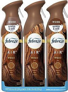 Febreze Air Freshener Spray, Wood, Odor Eliminator, 3 Count