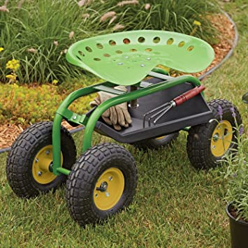 Rolling Garden Scoot Swivel Work Seat With Tool Tray Tractor Cart