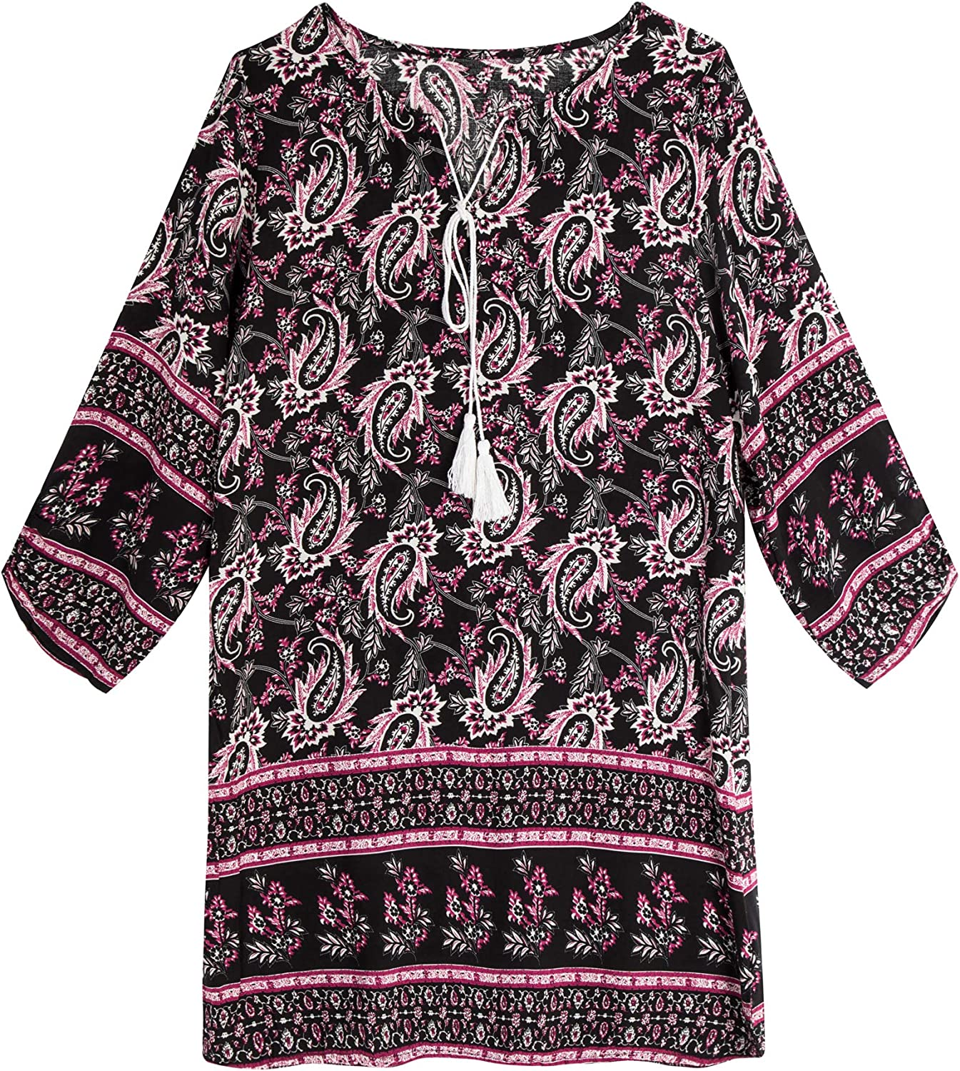 HOLY Women Bohemian Neck Tie Vintage Printed Ethnic Style Summer Shift Dress