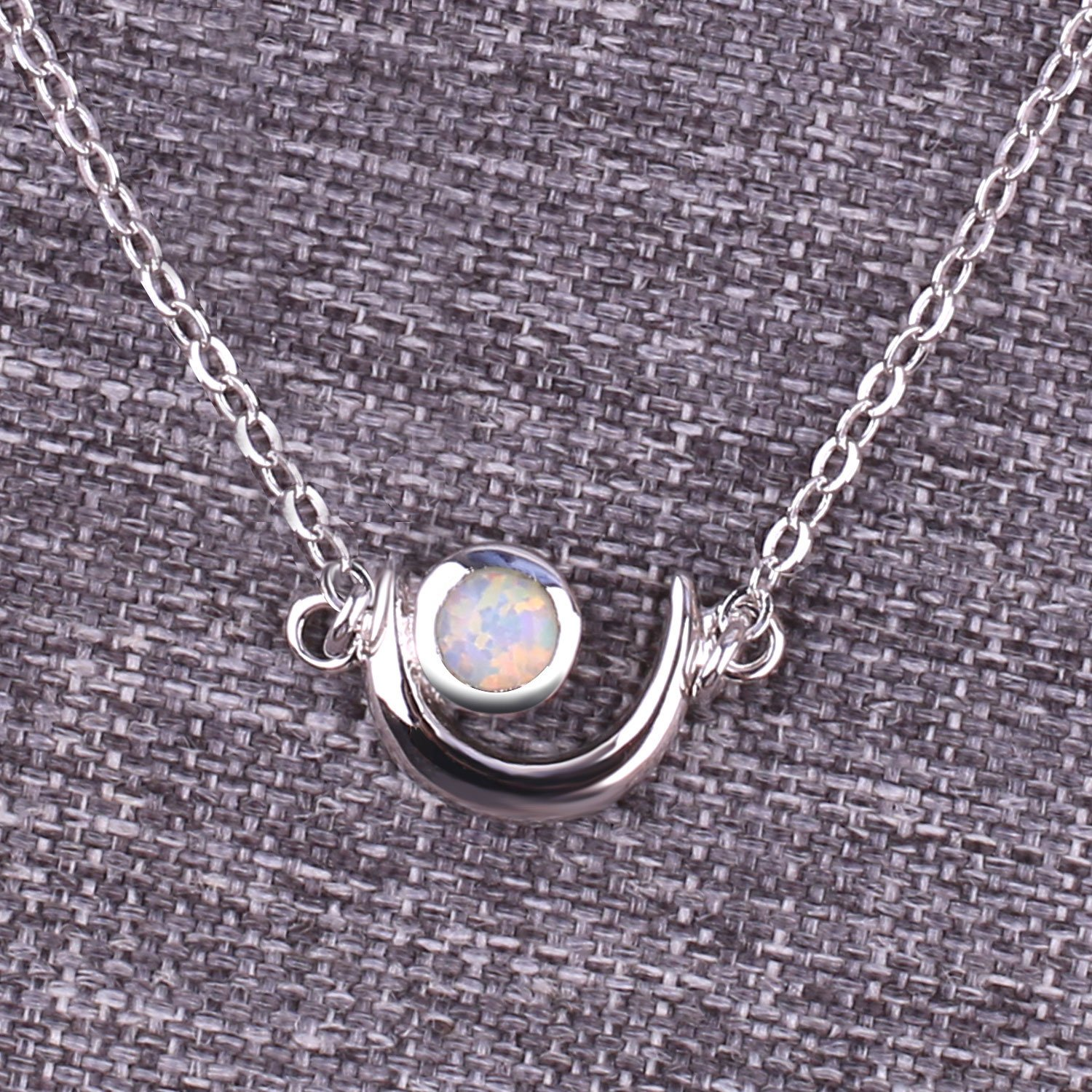 KELITCH Women Choker Necklace Syuthetic Opal /& Moon Oval Pendant with 16-18 Chain