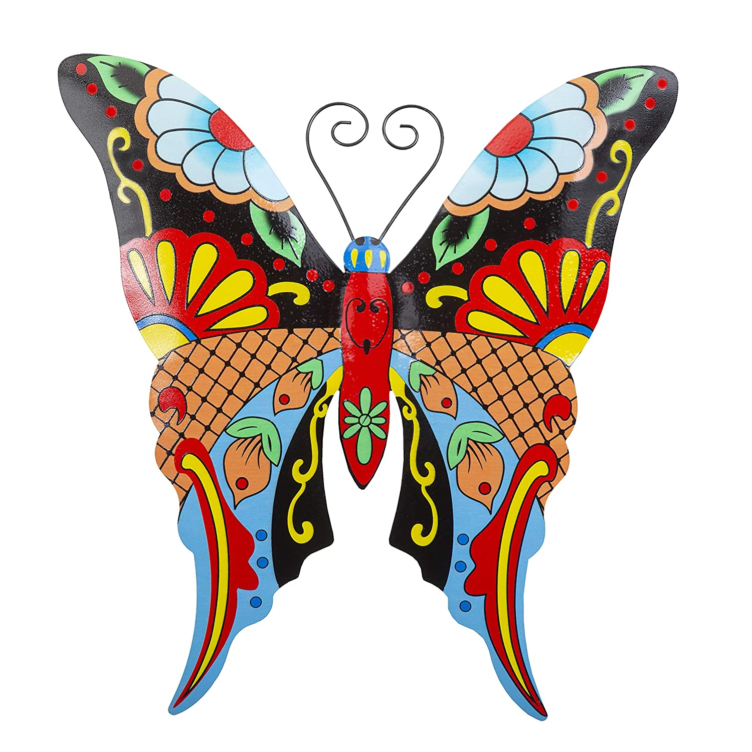 Whimsical Butterfly Metal Wall Art | Talavera-Style Home Decor | Stylish Wall Decorations for Living Room, Kitchen, Outdoors, Office, Bedroom, Garden, Bathroom | 13x12 Inches (Butterfly)