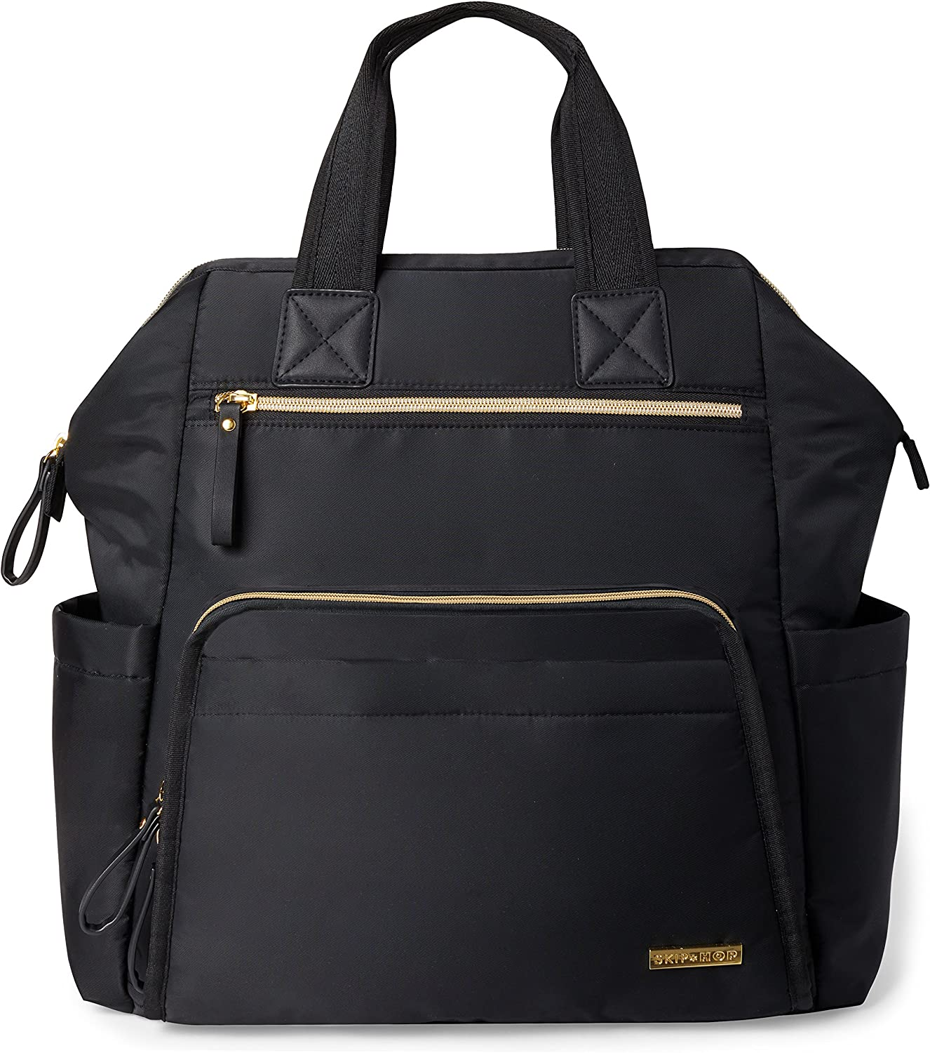 Skip Hop Diaper Bag Backpack Mainframe Large Capacity Wide Open Structure Black with Gold Trim