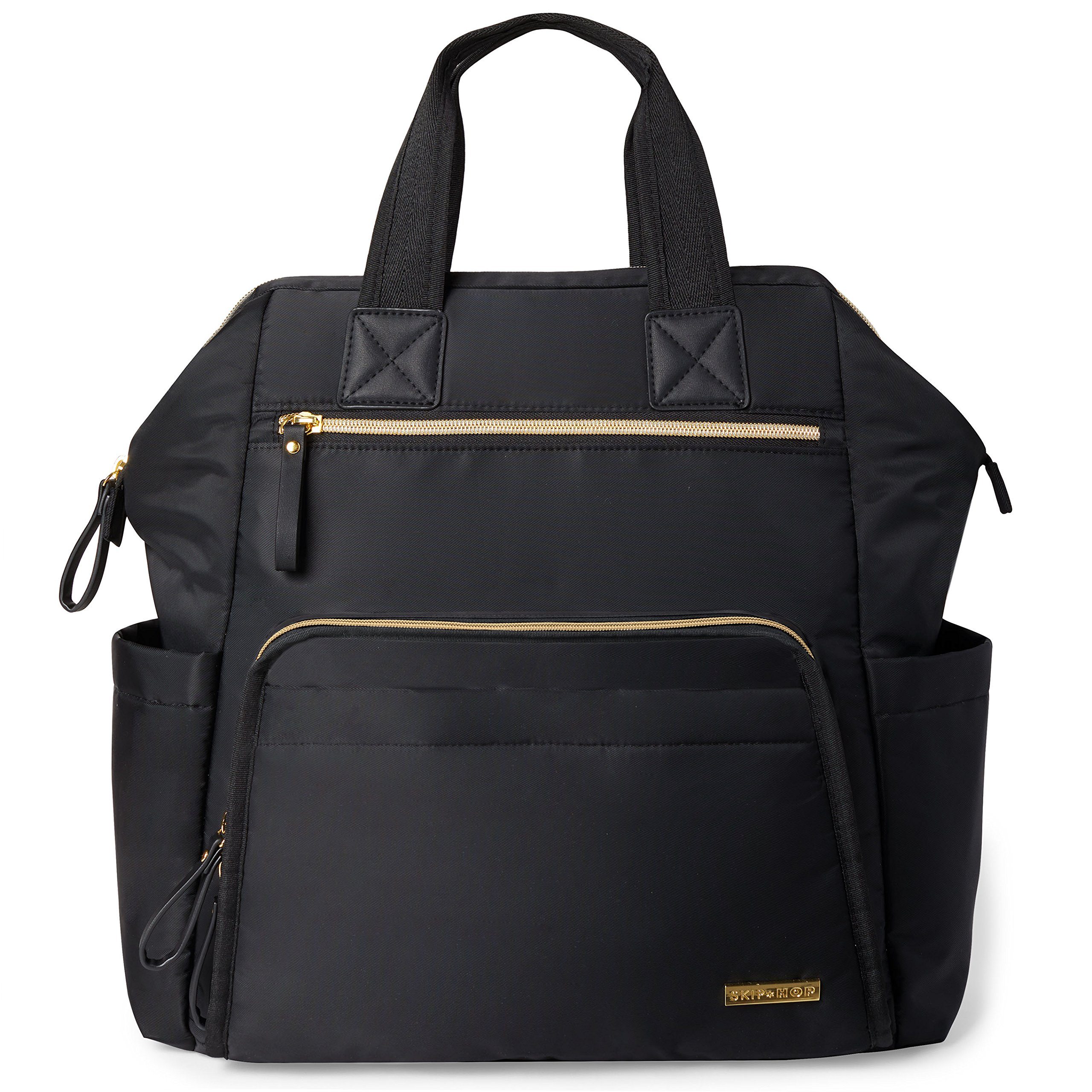 Diaper Bag Backpack, Mainframe Large Capacity Wide Open Structure, Black with Gold Trim, 14.25''x6.25''x14.75''
