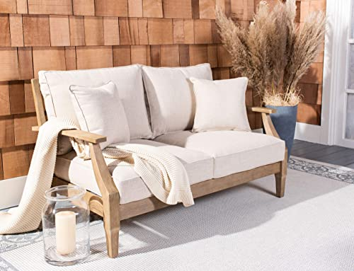 Safavieh CPT1012A Couture Martinique Natural and White Wood Outdoor Patio Loveseat