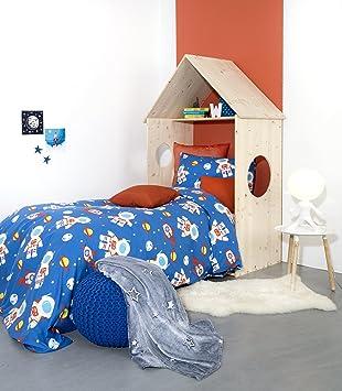 Perfekt Schön Aminata Kids U2013 Bettwäsche á 135x200 Cm Kinder Jungen Baumwolle +  Reißverschluss Astronaut Weltall Blau