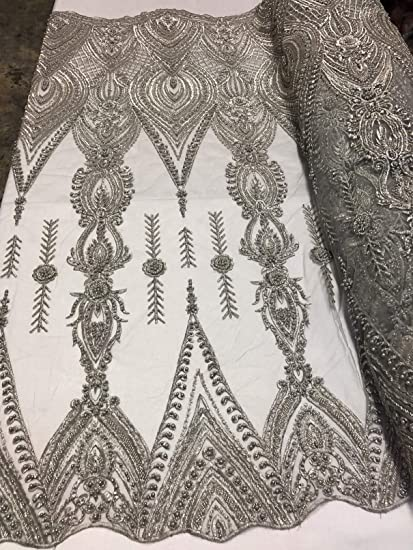 Amazon Com Beaded Embroided Fancy Damask Spikes Pattern Fabric