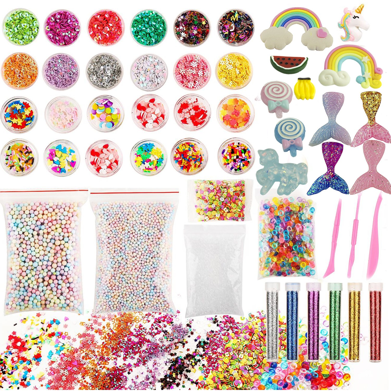 Slime Supplies kit, 50 Pack Slime Kits Include Slime Charms Fishbowl Beads, Pearl, Floam Beads, Glitter Jars, Confetti, Slime Tools, DIY Art Craft for Homemade Slime US Beads Supplies