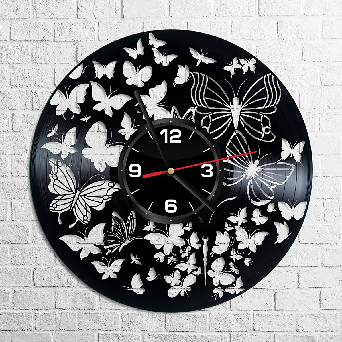 Butterfly Wall Clock Made of Vintage Vinyl Records - Stylish clock and Amazing Gifts Idea – Unique Home Decor – Personalized Presents for Men Women Kids – Living Room Bedroom Art – Handmade 12 Inches